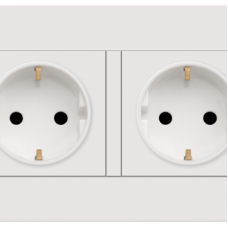BT10426/16S 16A 250V twin gang schuko socket outlet w/ safety shutter